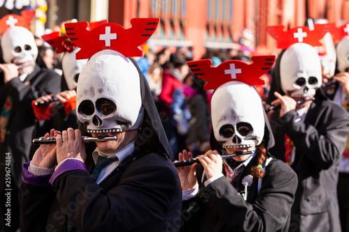 Fotografie, Obraz  Basel carnival 2019 piccolo player with skull shaped mask