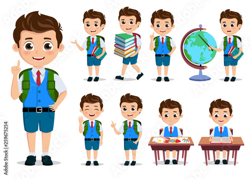 Leinwand Poster School kids student vector characters set