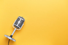 Retro Microphone On Color Background