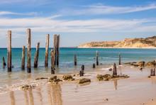 Old Wooden Pier Posts At Port ...