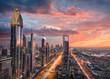 Skyline of downtown Dubai city with Sheikh Zayed Road