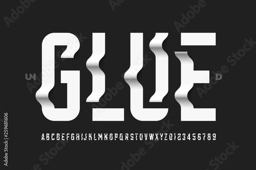 Obraz na plátně Unglued style modern font design, alphabet letters and numbers