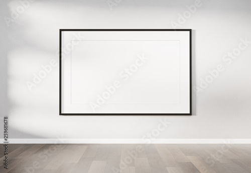 Fotomural Black frame hanging on a wall mockup 3d rendering