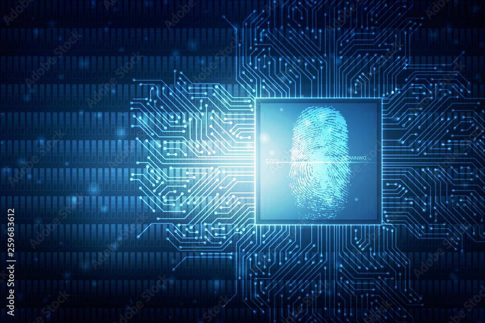 Fototapety, obrazy: Fingerprint Scanning Technology Concept 2d Illustration