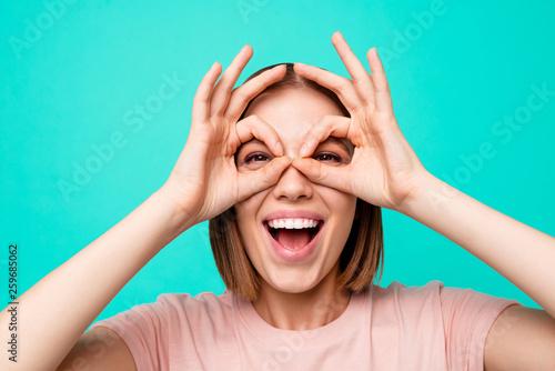 Valokuva  Close up photo beautiful amazing her she lady arms hands near eyes specs shape f