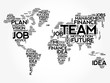 TEAM word cloud in shape of world map, business concept background