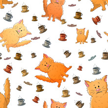 Vector Seamless Pattern With Cute Cartoon Weird Cats And Cups Of Coffee. Funny Animals. Texture On A White Background. Template For Comic Decor, Fabric Design, Packaging Or Clothes