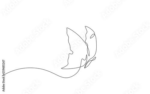 Obraz na plátně  Butterfly one line drawing vector illustration