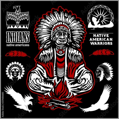 Photo Native american indians, apache tribes set of vector emblems, labels, badges