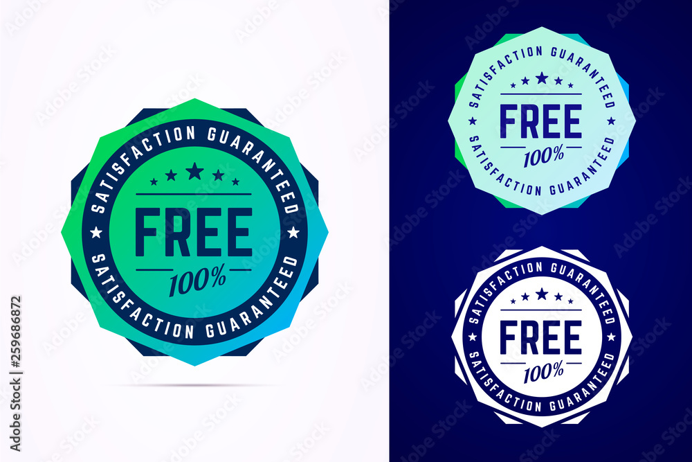 Fototapeta The round free gradient style sticker, tag, button, badge. Vector badge for promotion your free product or service. Vector illustration