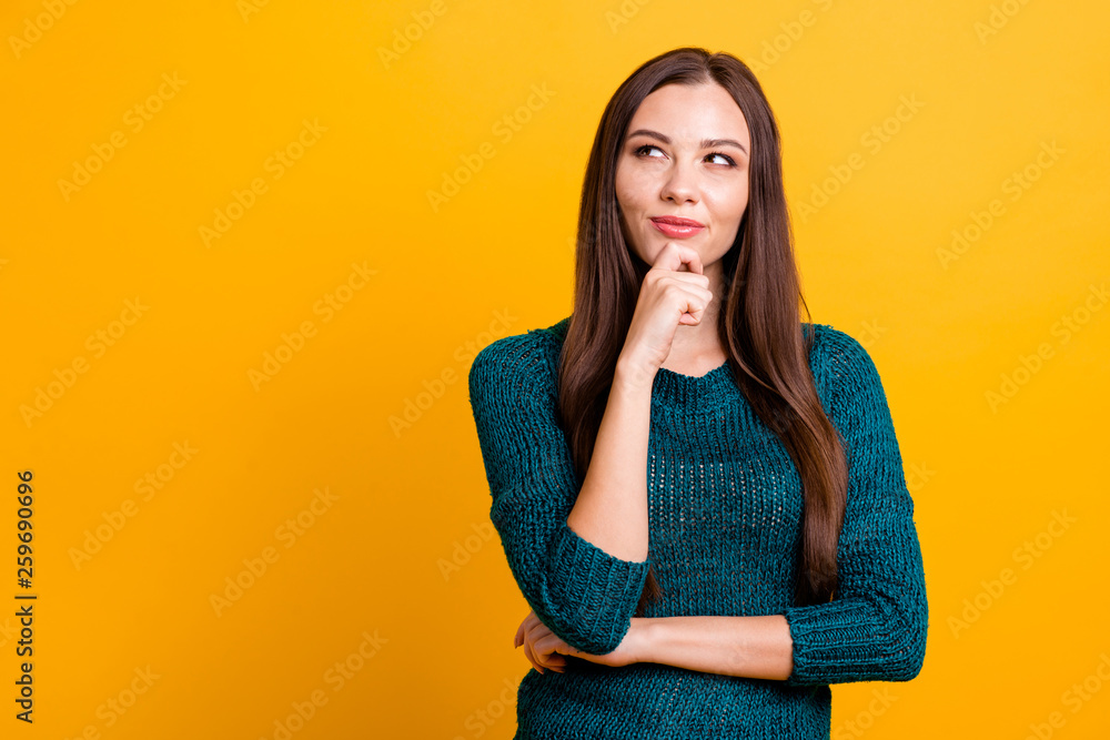 Fototapety, obrazy: Close up photo amazing funky her she lady long straight hairdo clever brown eyes look up empty space hand arm finger chin thought wear green knitted pullover jumper clothes isolated yellow background
