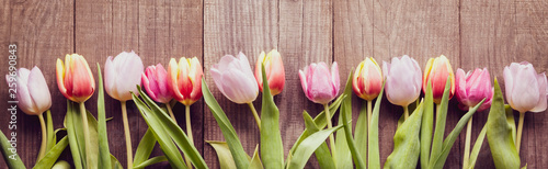 Wall Murals Tulip bouquet of tulips of spring flowers on old wooden board on holiday of Easter