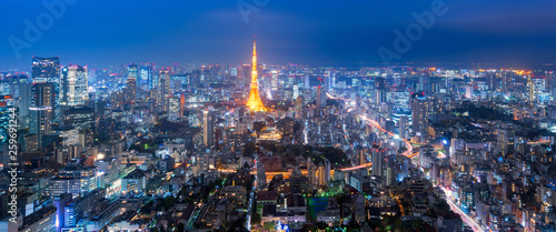 Panorama view over Tokyo tower and Tokyo cityscape view from Roppongi Hills at n Canvas Print