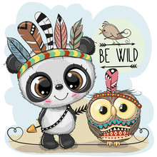 Cute Tribal Panda And Owl With...