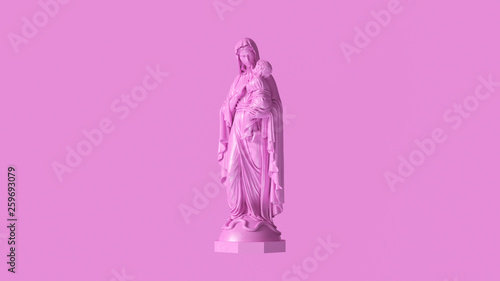 Pink Mary an Child Statue 3d illustration 3d render Wallpaper Mural