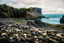Rocky Coastline Landscape In Hellnar, Iceland. Hellnar Was Among The Largest Fishing Villages Beneath The Snaefellsjokull Ice Cap In West Iceland.