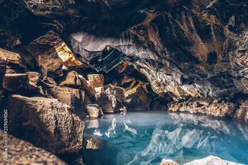 Grjotagja lava cave, near Myvatn, North Iceland. Fototapeta