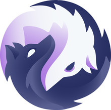 Black And White Wolf In A Circle. The Yin-Yang Symbol In The Form Of Two Wolves. Vector