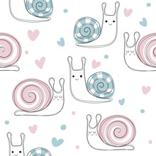 Seamless Pattern With Cute Snail Hearts. Pink And Blue Snails. Vector Hand Drawn Illustration. Fashion Kids Print.
