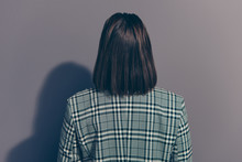 Back Behind Close Up View Photo Of Style Stylish Modern Businesslady She Her Girl Wearing Classic Outfit Isolated Grey Background