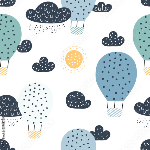 fototapeta na drzwi i meble Childish seamless pattern with hot air ballon in the sky. Perfect for fabric, textile, wrapping. Cute cartoon background. Scandinavian style.