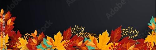 Fototapeta happy thanksgiving card with decorative wreath. colorful design. vector illustration - Vector  obraz na płótnie