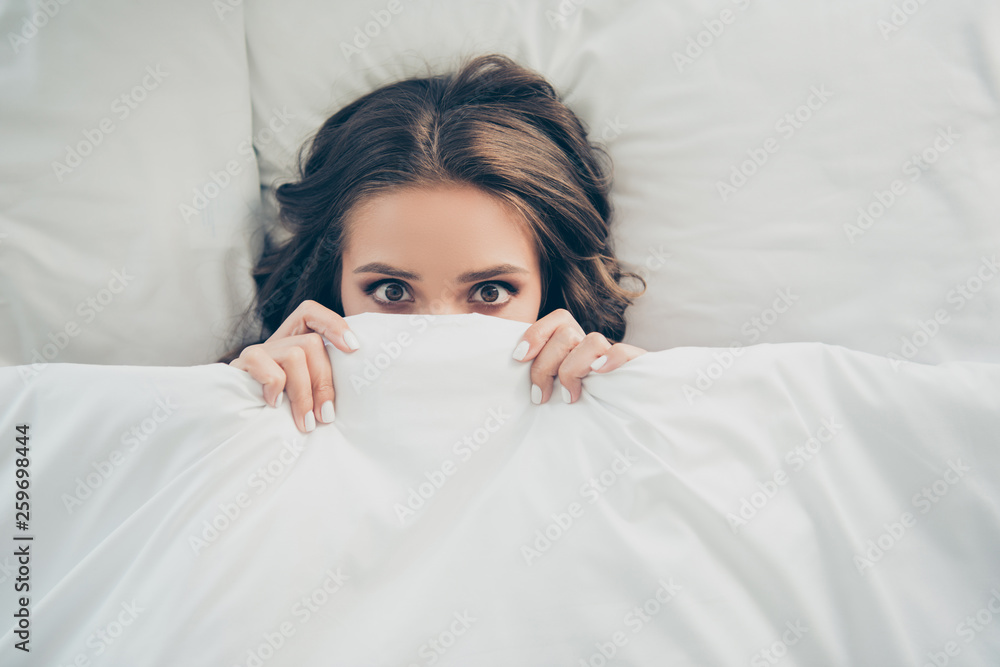 Fototapeta Close-up top above high angle view portrait of her she nice-looking sweet attractive lovely charming cute funny girlish wavy-haired lady having rest free time in light white interior room
