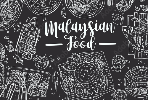 Fotomural Hand drawn Malaysian food on a blackboard, Top view Asian Food background, Vecto