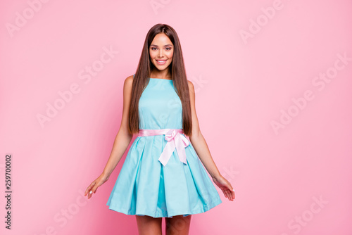 Fototapeta Portrait of her she nice-looking attractive stunning winsome elegant fascinating cheerful straight-haired lady mint green dress isolated over pink pastel background obraz na płótnie