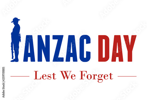 Photo Anzac Day Banner, Silhouette of soldier paying tribute, Vector