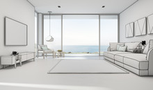 Sea View Living Room Of Luxury Summer Beach House With Large Glass Door And Wooden Terrace. TV On White Wall Against Big Sofa In Vacation Home Or Holiday Villa. Hotel Interior 3d Illustration.