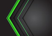 Abstract Green Light Neon Arrow Direction On Dark Grey Blank Space Design Modern Futuristic Background Vector Illustration.