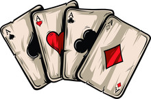 Four Aces Poker Playing Cards On White Background. Carton Hand-drawn Vector Illustration.
