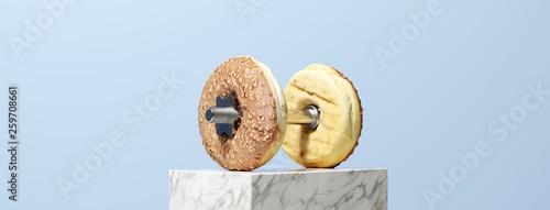 Panorama mit Donut Hantel als Fitness Konzept Fototapete