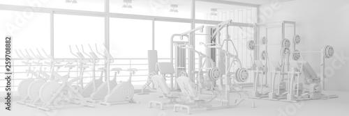 Fotografie, Obraz  Fitnesscenter mit Geräten in weiß