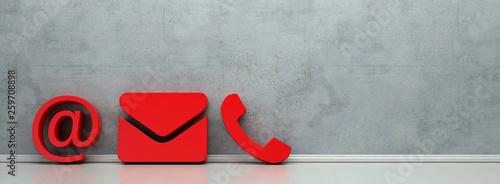 Fotografía  Rote Hotline und Service Kontakt Icons als Panorama