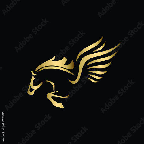 Fotografía Vector image of a silhouette of a mythical creature of Pegasus