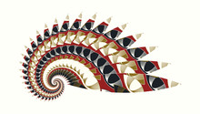 Abstract Spiral Shell Indian Style In Gold Red Black