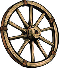 Old Wagon Wooden Wheel Vector ...
