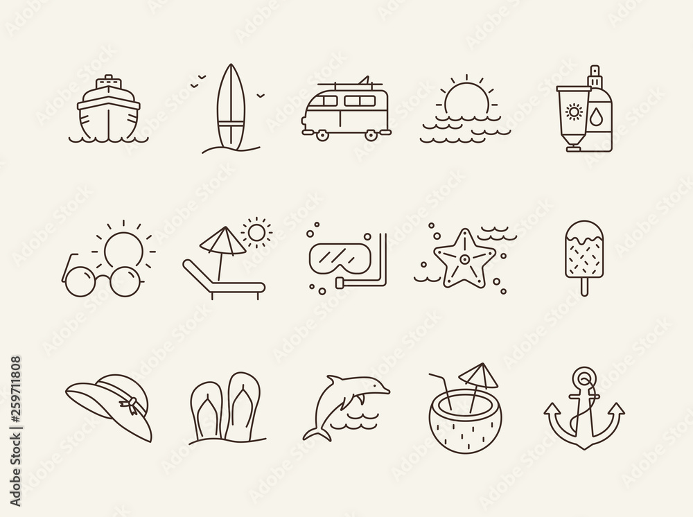 Fototapeta Vacation line icon set