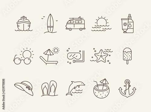 Vacation line icon set