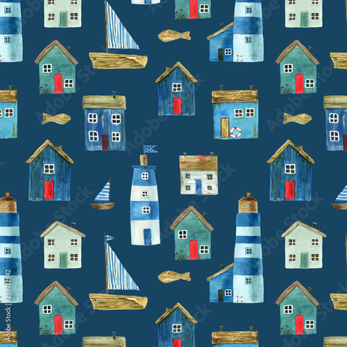 Fototapety, obrazy: Seamless pattern with nautical theme, cute houses, lighthouses and boats for your design. Watercolor illustration. For fabric, scrapbooking, wrapping paper and more.