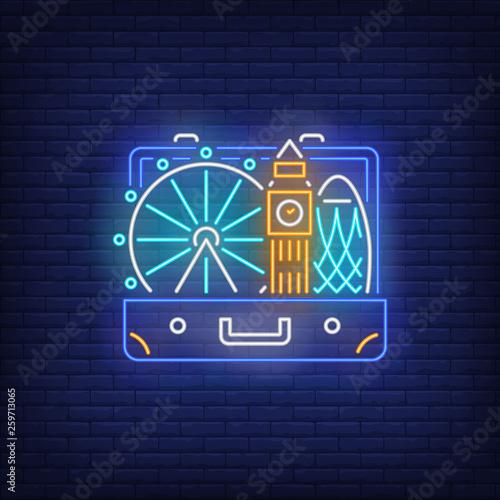 Photo Big Ben, London Eye in open suitcase neon sign