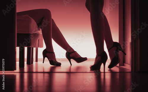 Fototapeta Two sexy ladies in high heels