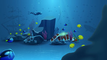 Underwater World, Vector Illustration With Yellow Fish, Blue Fish, Rock, Starfish, Pearl, Diver And Treasure Chest