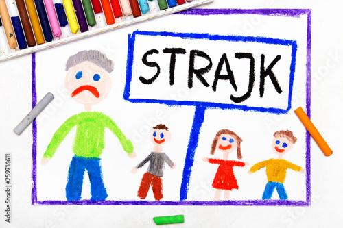 Fototapeta Kolorowy rysunek przedstawiający strajk nauczycieli obraz
