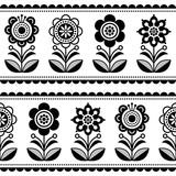 Skandynawski bezszwowe sztuka ludowa wektor wzór z kwiatów i serc, Nordic ornament design - czarno-białe długie paski - 259718403