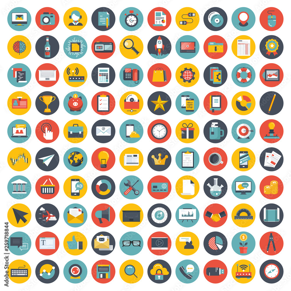 Fototapety, obrazy: Business, management and technology icon set for websites and mobile applications. Flat vector illustration