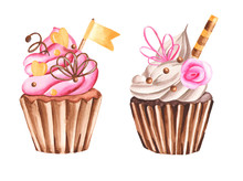 Watercolor Card Sweets. Donuts...