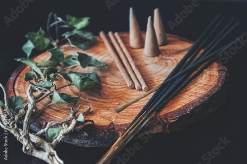Examples of various types of incense - sticks and cones Fototapeta